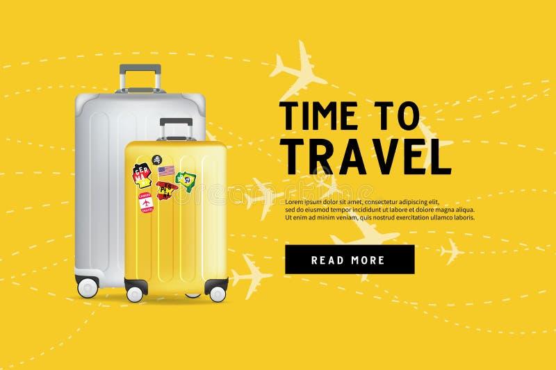 Tempo di viaggiare Modello di viaggio dell'insegna della borsa dei bagagli Concetto di turismo e di corsa royalty illustrazione gratis