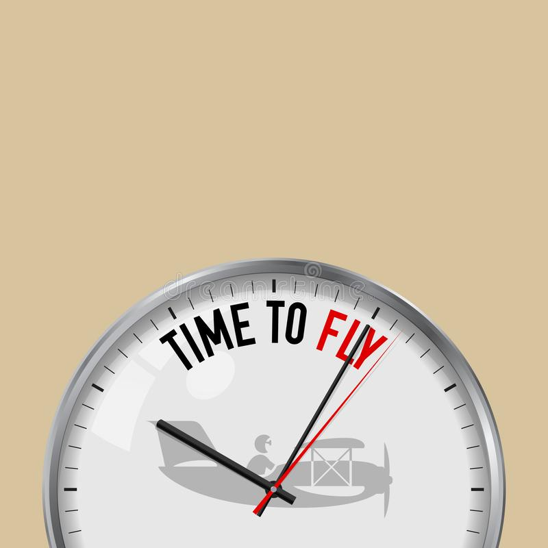 Tempo di volare Orologio bianco di vettore con lo slogan motivazionale Orologio analogico del metallo con vetro Icona d'annata de illustrazione di stock