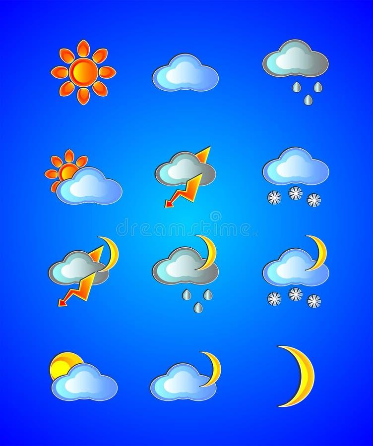 Tempo, dia, noite, ensolarada, sol, nuvem, nebulosa, chuva, chuvosa, lua, noite, mês, temporal, relâmpago, neve, nevado, colorida ilustração royalty free