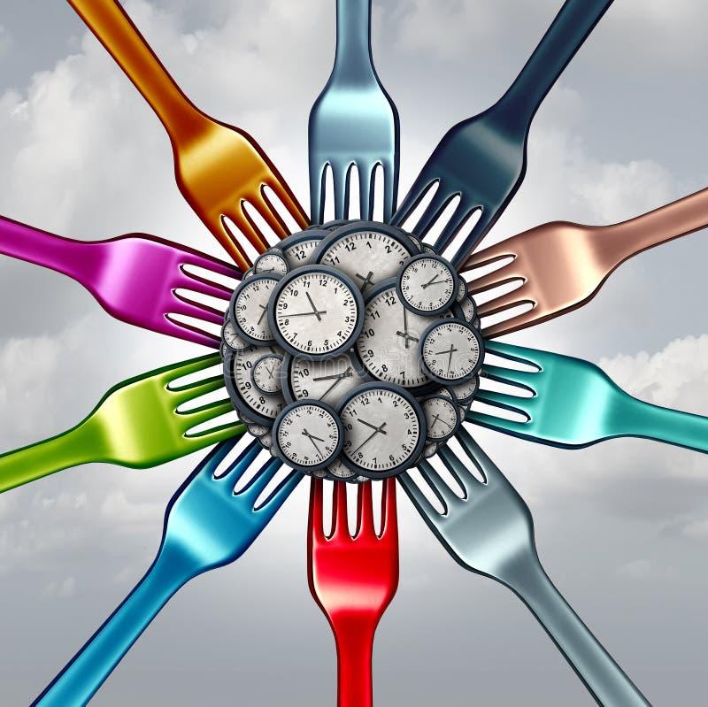 Tempo do alimento e programação comer para a dieta ilustração do vetor