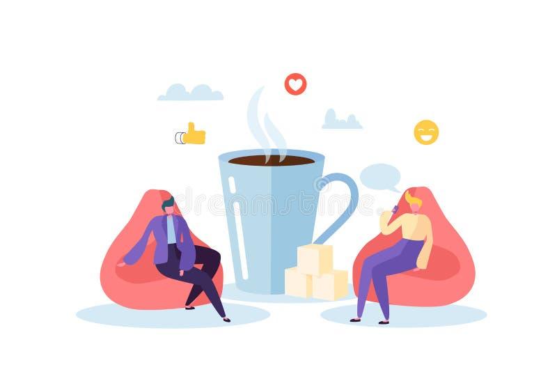 Tempo do almoço do escritório Executivos dos caráteres na ruptura de café Empregados que falam, descansando e bebendo bebidas que ilustração stock