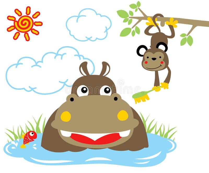 Tempo do banho do hipopótamo com o macaco no pântano no verão ilustração do vetor