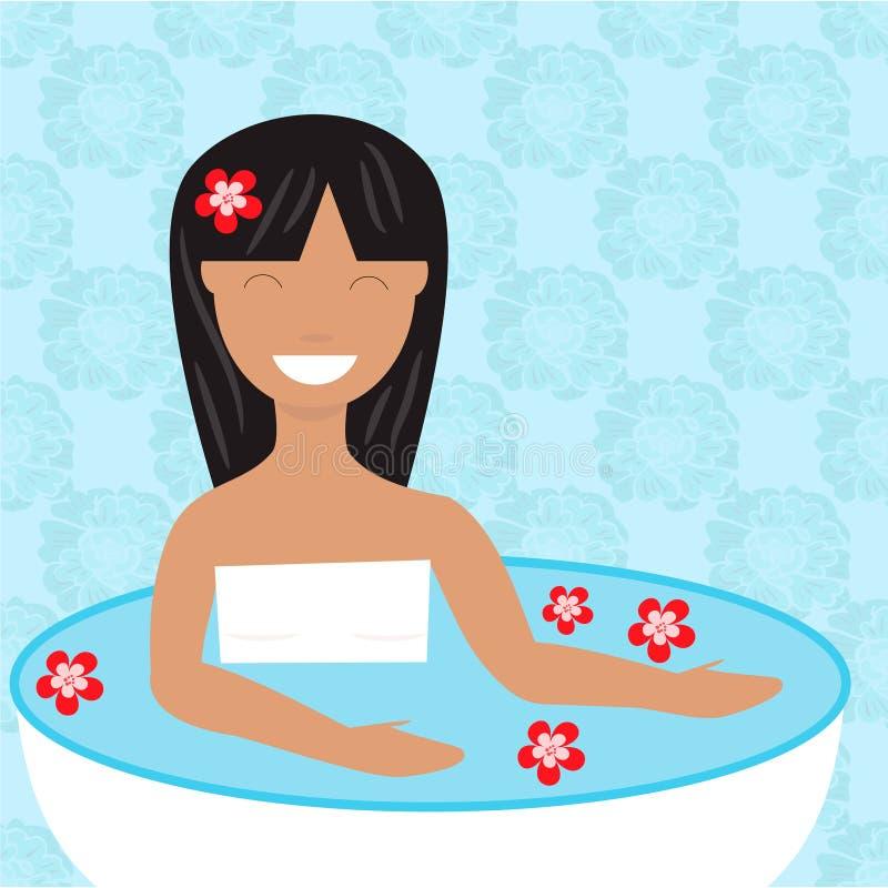 Tempo do banho Mulher que toma um banho ilustração stock