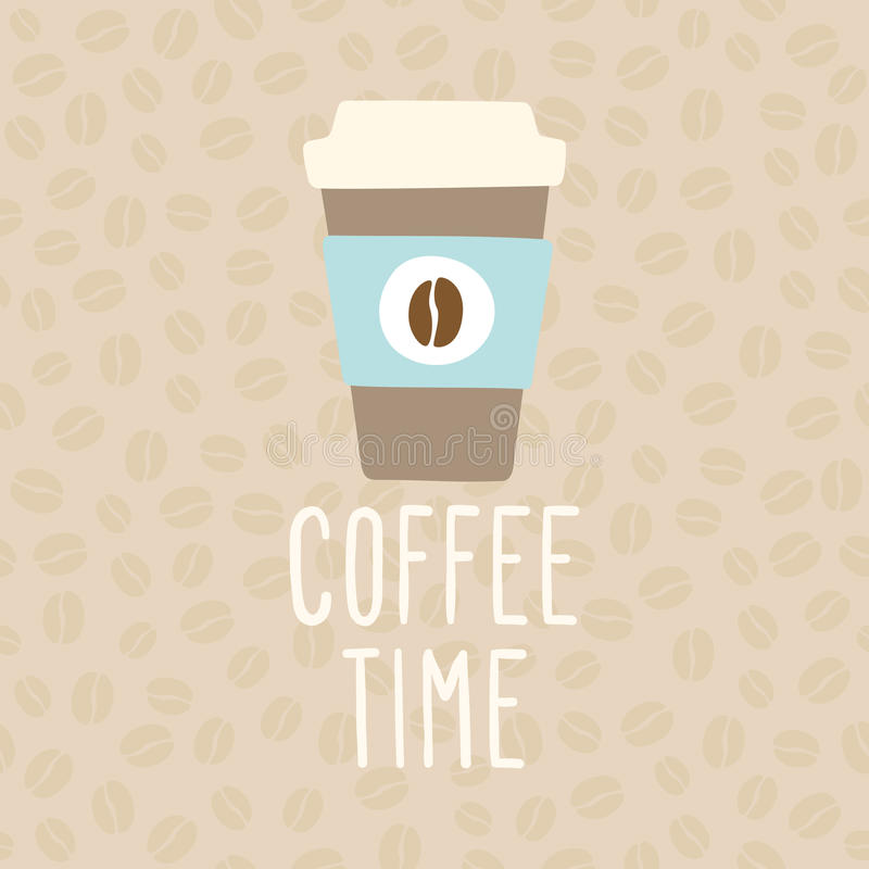 Tempo do café Copo a ir ilustração royalty free