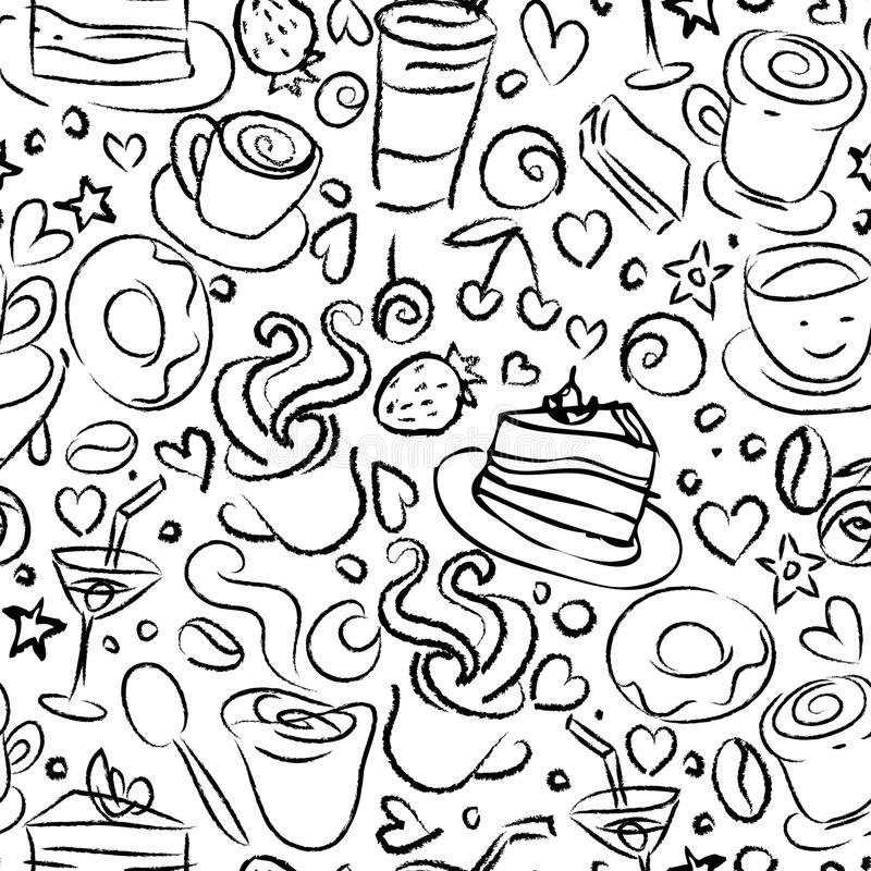 Tempo do café, fundo sem emenda ilustração stock