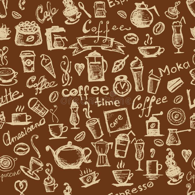 Tempo do café, fundo sem emenda para seu projeto ilustração royalty free