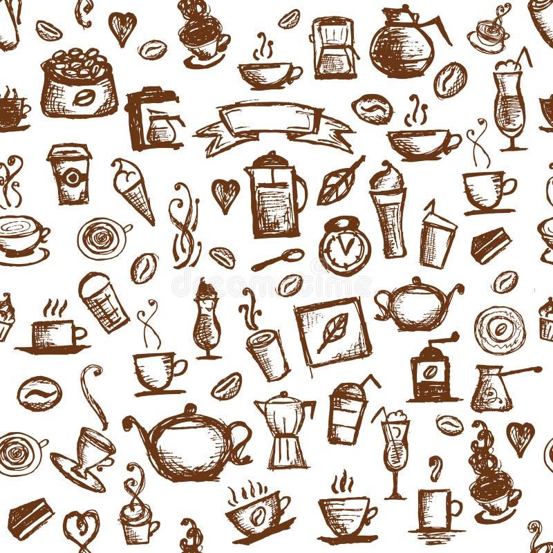 Tempo do café, fundo sem emenda para seu projeto ilustração do vetor