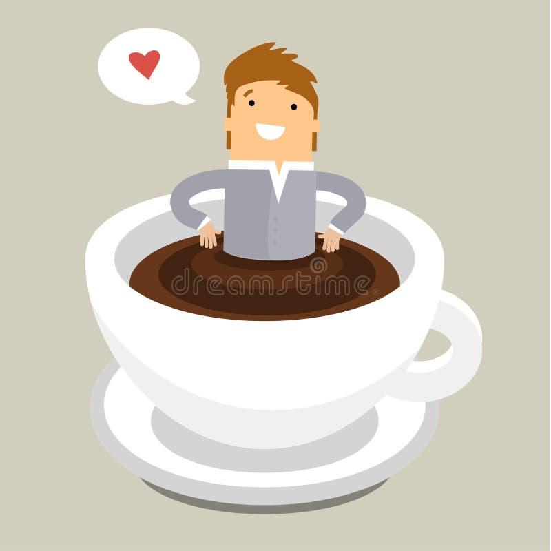 Tempo do café, homem que relaxa no copo de café ilustração do vetor