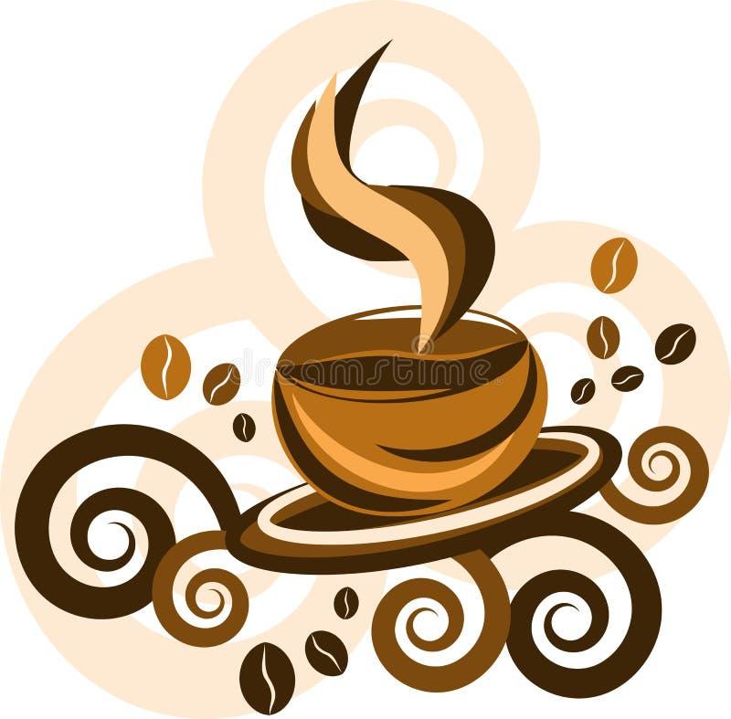 Tempo do café Momentos mágicos com uma xícara de café escuro ilustração stock