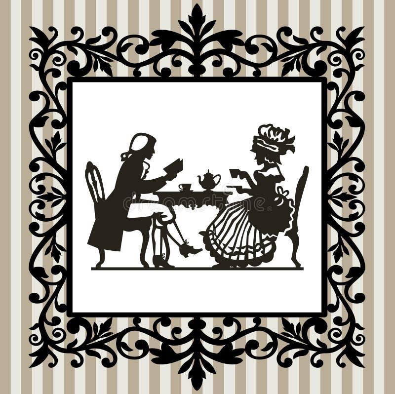 Tempo do chá com frame ilustração stock