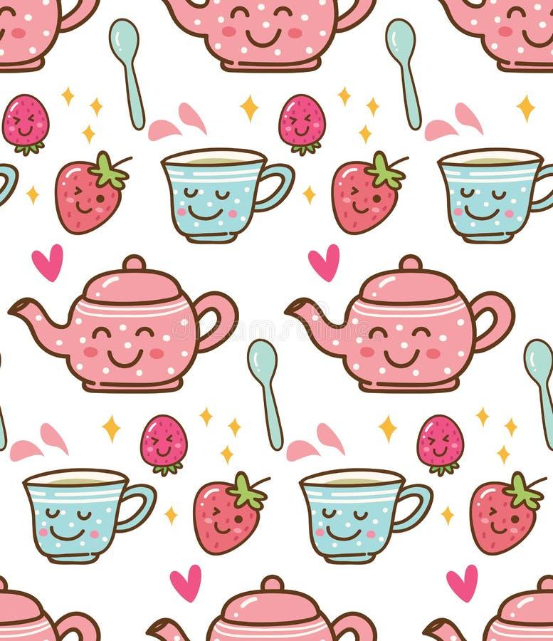 Tempo do chá com a morango no fundo do estilo do kawaii ilustração stock