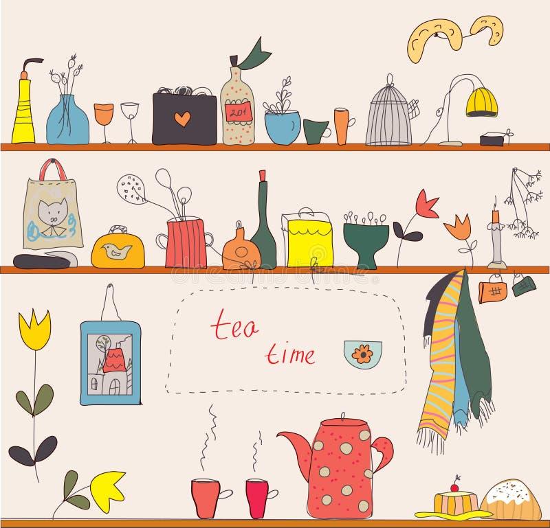 Tempo do chá nas prateleiras da cozinha ilustração royalty free