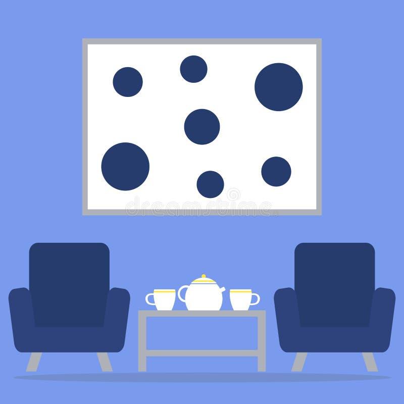 Tempo do chá no interior da sala de visitas com poltronas, tabela, bule e copos ilustração royalty free