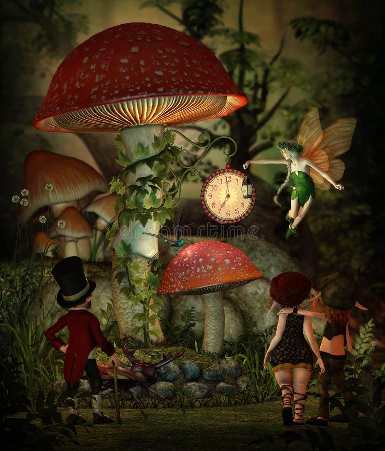 Tempo do cogumelo, 3d CG ilustração stock