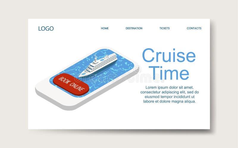 Tempo do cruzeiro, molde de aterrissagem do página da web Vetor isom?trico ilustração do vetor