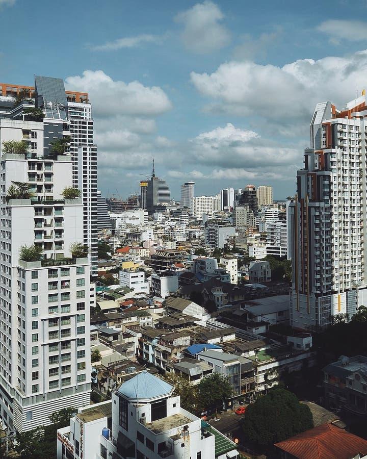Tempo do dia da cidade de Banguecoque foto de stock