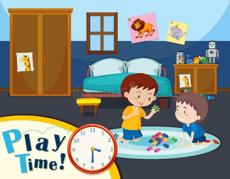 Tempo do jogo com dois meninos ilustração royalty free