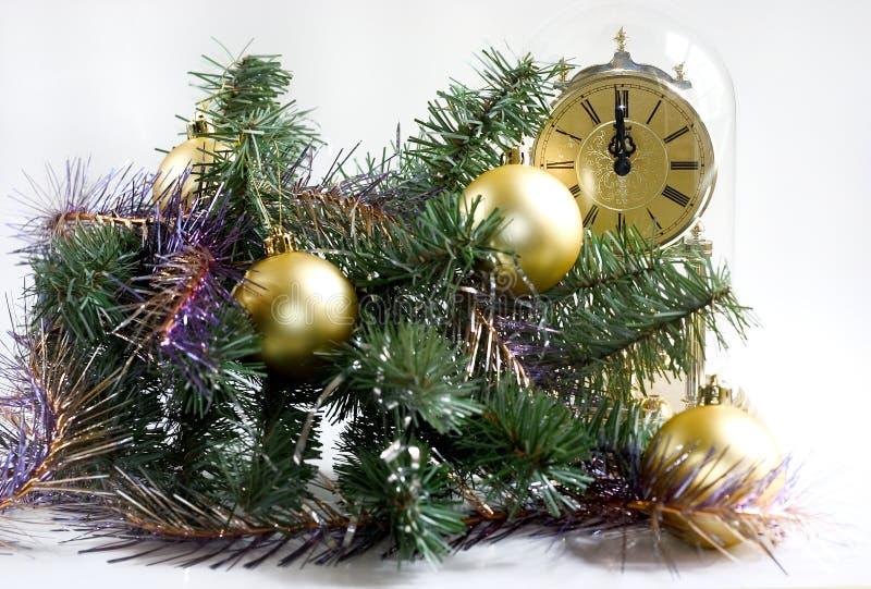 Tempo do Natal um minuto lavra doze imagens de stock