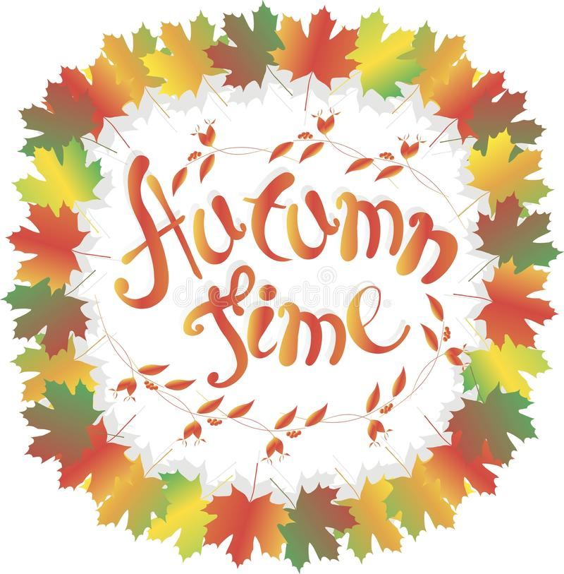 Tempo do outono da rotulação Quadro colorido das folhas de bordo no branco, em frutos cor-de-rosa, em ramo com folhas e em frutos ilustração do vetor