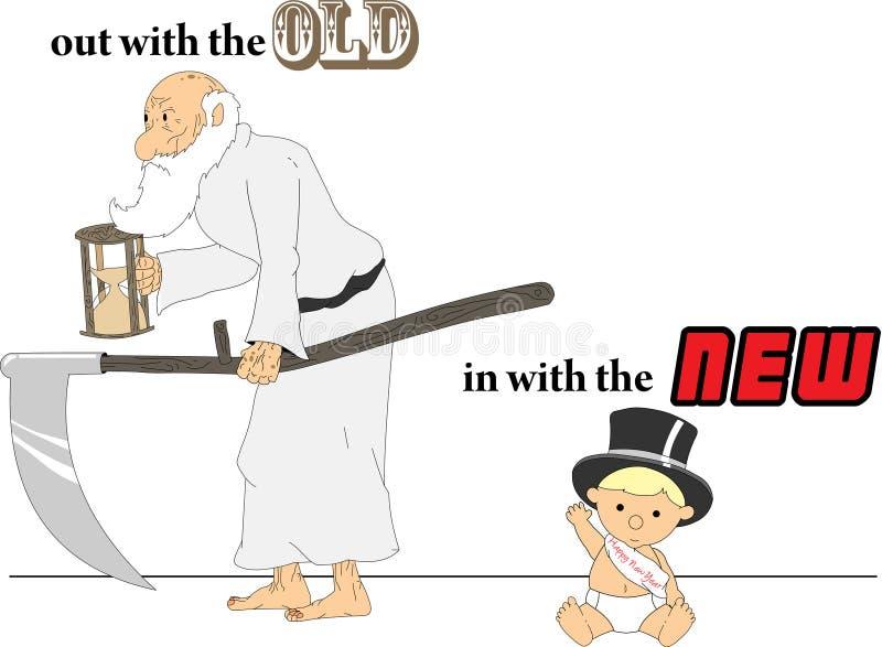 Tempo do pai e anos novos do bebê ilustração royalty free