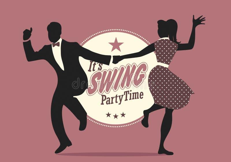 Tempo do partido do balanço: Silhuetas dos pares novos que vestem a roupa retro que dança o balanço ou o lúpulo lindy ilustração stock