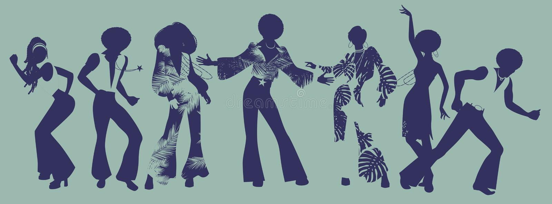 Tempo do partido da alma Dançarinos da alma, do funk ou do disco ilustração stock