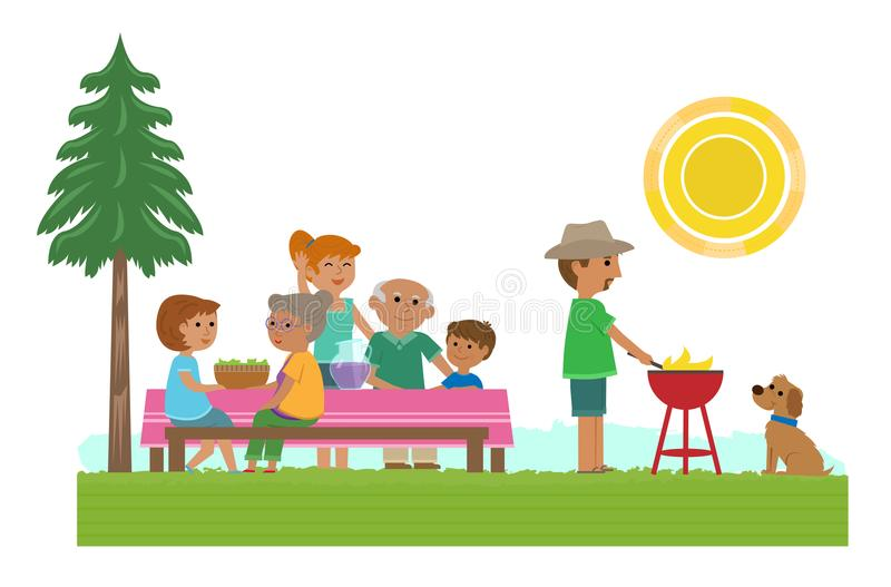 Tempo do piquenique da família ilustração stock
