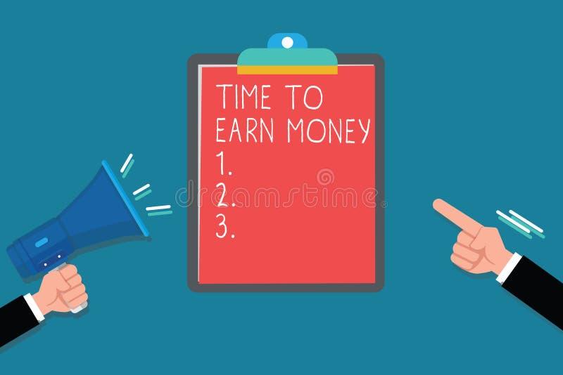 Tempo do texto da escrita ganhar o dinheiro O significado do conceito obtém pago para o trabalho feito investe no negócio ou na p ilustração stock