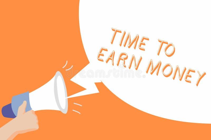 Tempo do texto da escrita ganhar o dinheiro O significado do conceito obtém pago para o trabalho feito investe no negócio ou na p ilustração royalty free