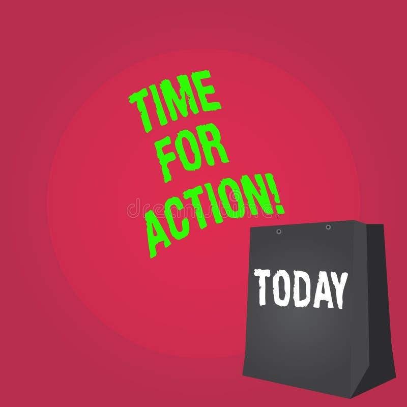 Tempo do texto da escrita da palavra para a ação Conceito do negócio para o trabalho do desafio do incentivo do movimento da urgê ilustração stock