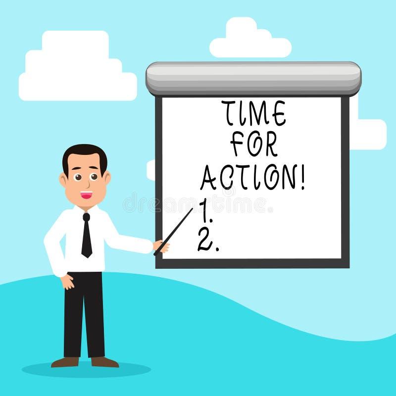 Tempo do texto da escrita para a ação Conceito que significa o trabalho do desafio do incentivo do movimento da urgência ilustração royalty free