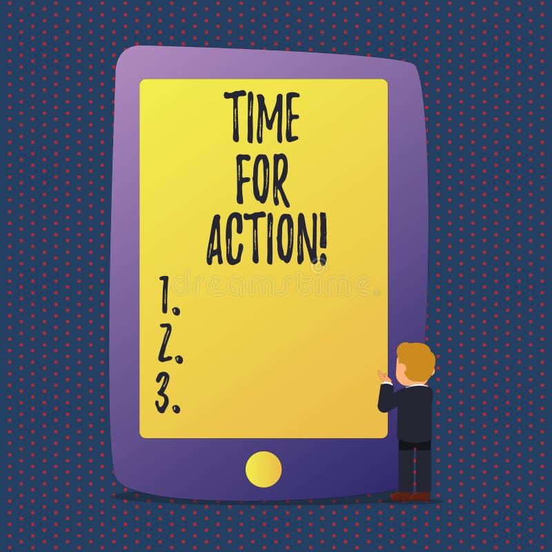 Tempo do texto da escrita para a ação Conceito que significa o trabalho do desafio do incentivo do movimento da urgência ilustração do vetor
