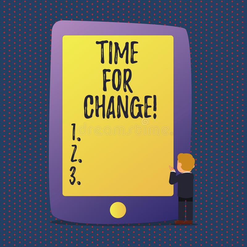 Tempo do texto da escrita para a mudança A transição do significado do conceito cresce para melhorar transforma para tornar-se ilustração do vetor