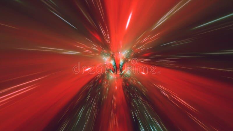 Tempo do wormhole do túnel do redemoinho e espaço hyperspace, animação do fundo 3D da ficção científica da urdidura ilustração do vetor