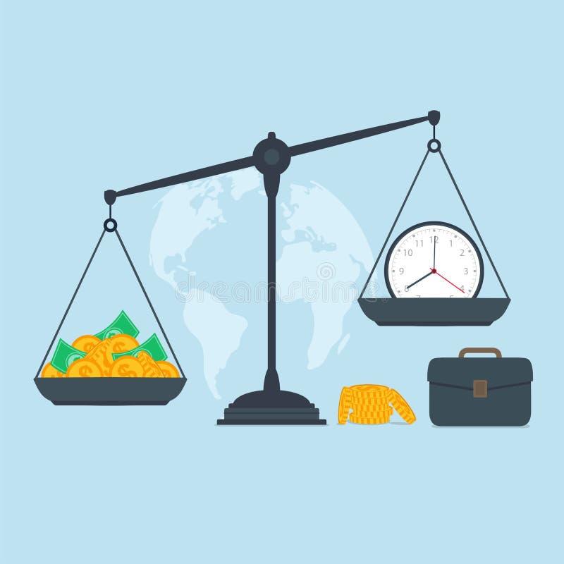 Tempo e dinheiro em escalas, sucesso comercial ilustração do vetor
