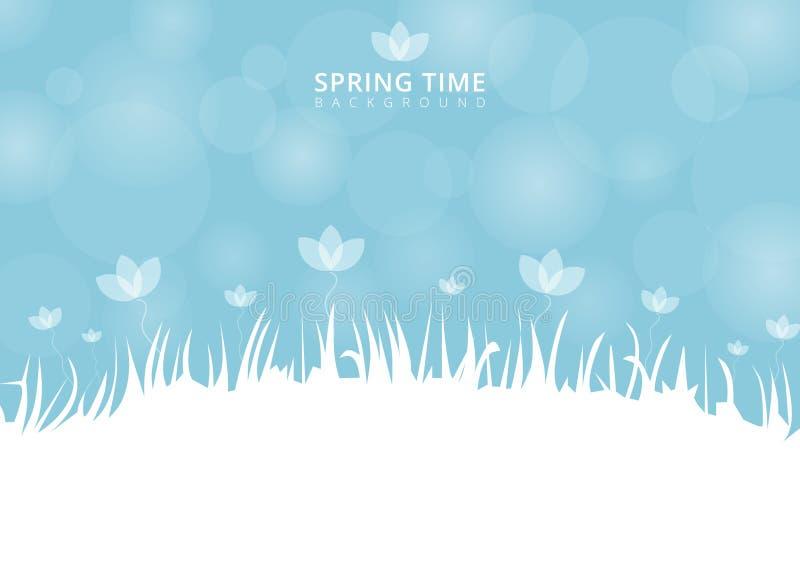 Tempo e fiore di primavera con bokeh su fondo blu con il posto royalty illustrazione gratis