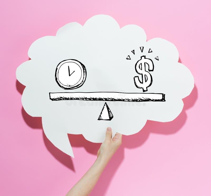 Tempo e soldi sulla scala con un fumetto immagine stock libera da diritti