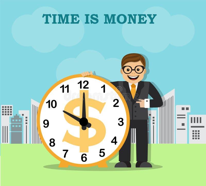 Tempo e trabalho na cidade grande ilustração do vetor