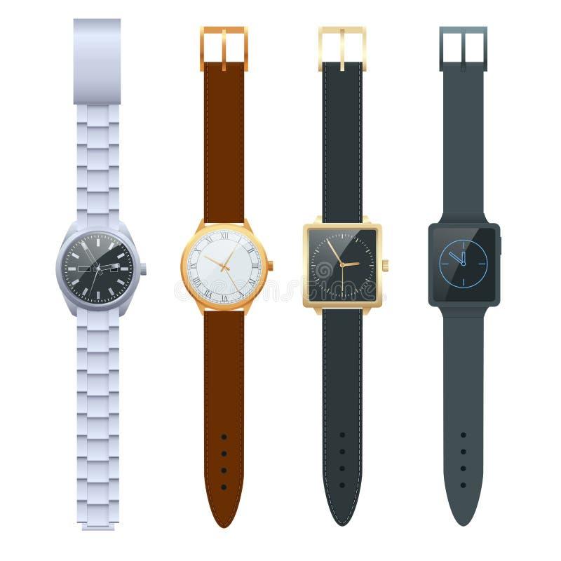 Tempo em um relógio de pulso Grupo do vetor de relógios dos homens s Relógios do clássico isolados no grupo branco do vetor ilustração do vetor