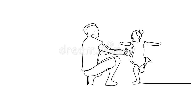 Tempo engraçado da família com conceito da infância do pai e de seu a lápis contínuo ilustração da filha um do vetor do desenho ilustração stock