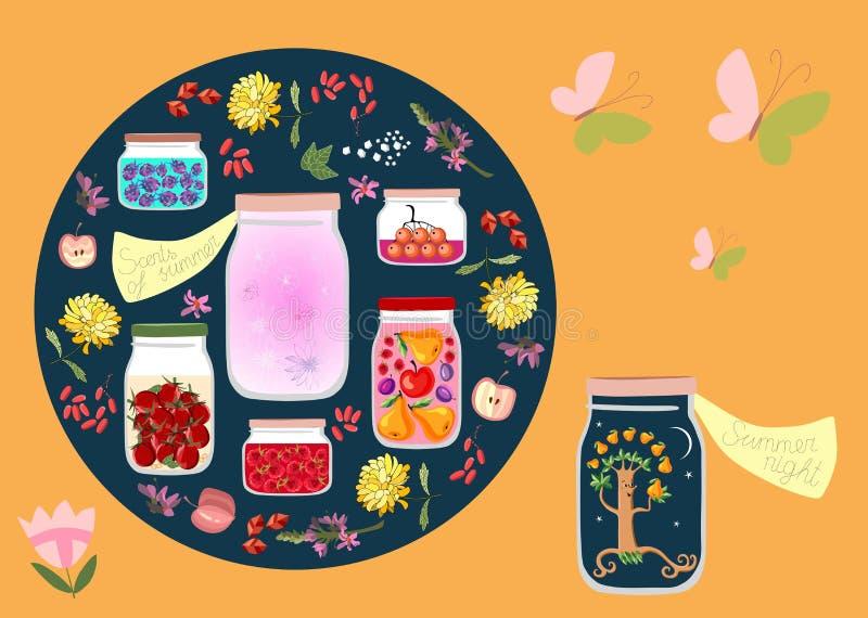 Tempo enlatado Ilustração alegórica do vetor Perfumes da noite de verão e do verão como enlatado nos frascos de vidro ilustração royalty free