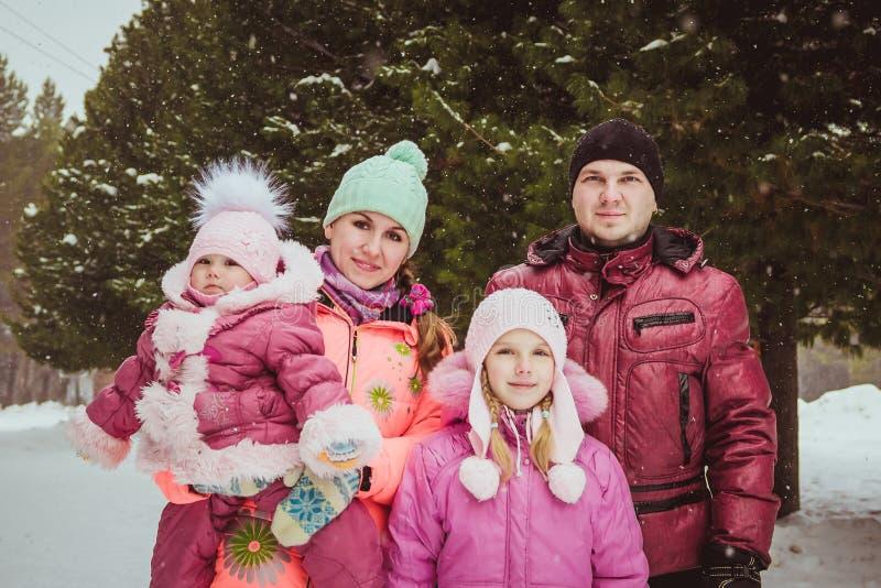 Tempo feliz da despesa da família ao ar livre no inverno foto de stock