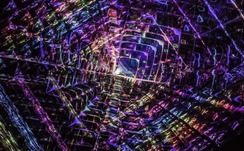 Tempo fraturado em dimensões do quantum das partículas atômicas secundárias ilustração do vetor