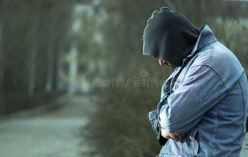Tempo freddo e hobo fotografie stock