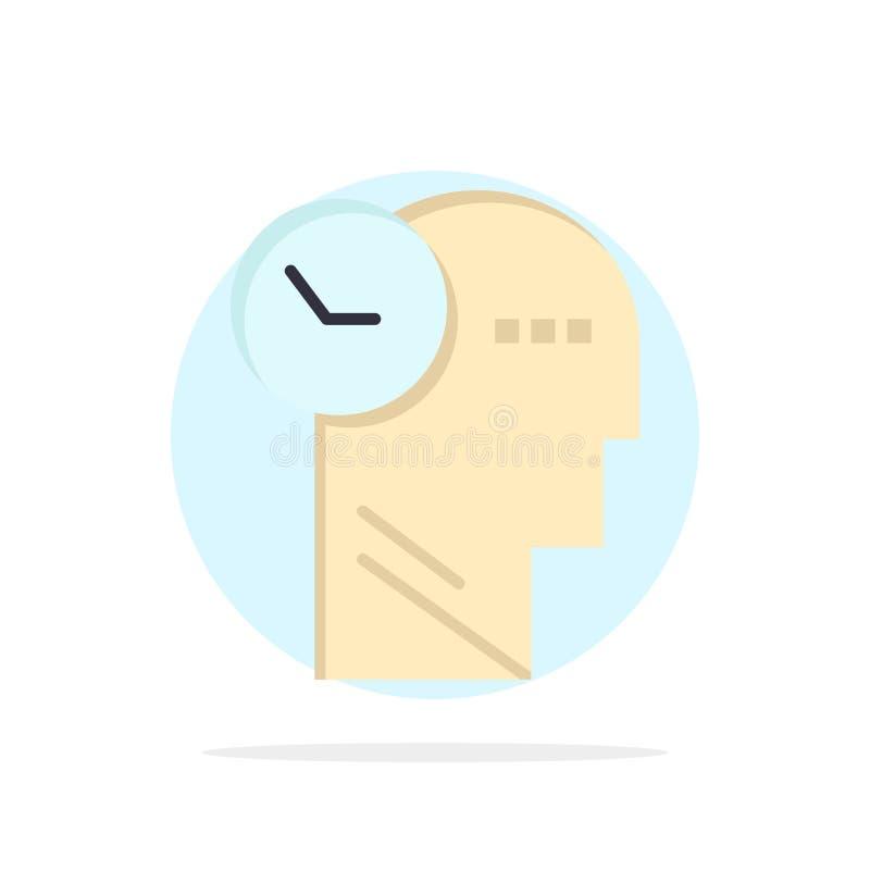 Tempo, mente, pensieri, icona piana di colore del fondo astratto capo del cerchio illustrazione vettoriale