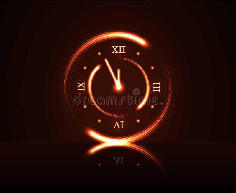 Tempo minuto da contagem regressiva cinco vermelhos mágicos do pulso de disparo Fundo do ano novo feliz Decoração dourada para o  ilustração do vetor