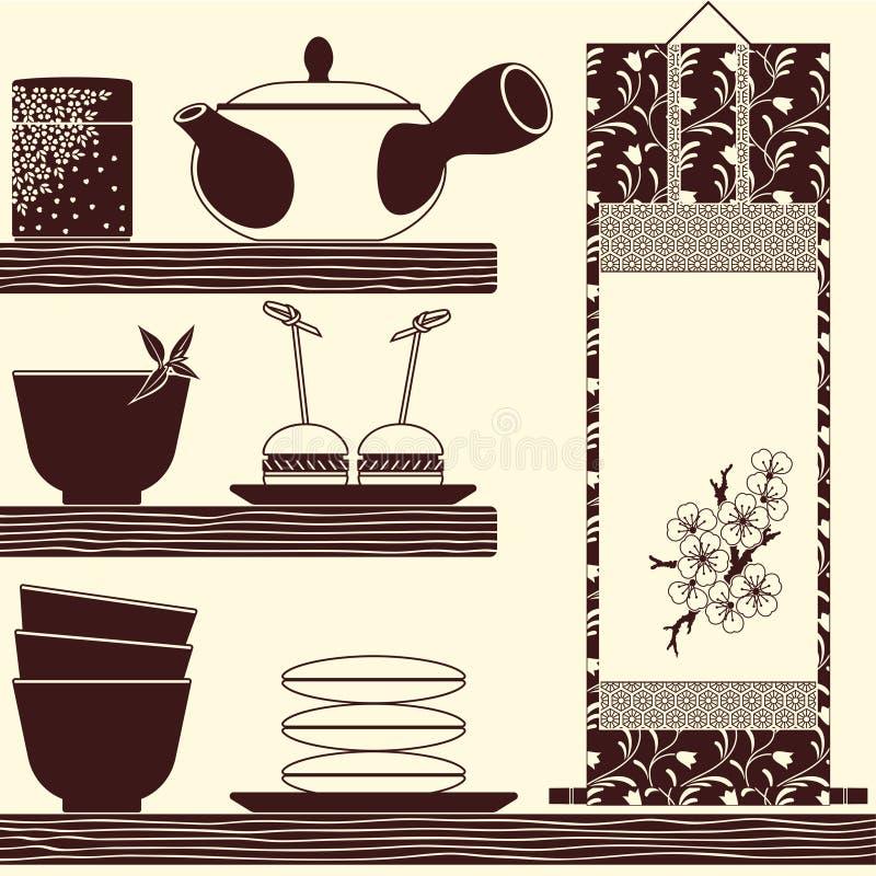 Tempo orientale del tè illustrazione vettoriale
