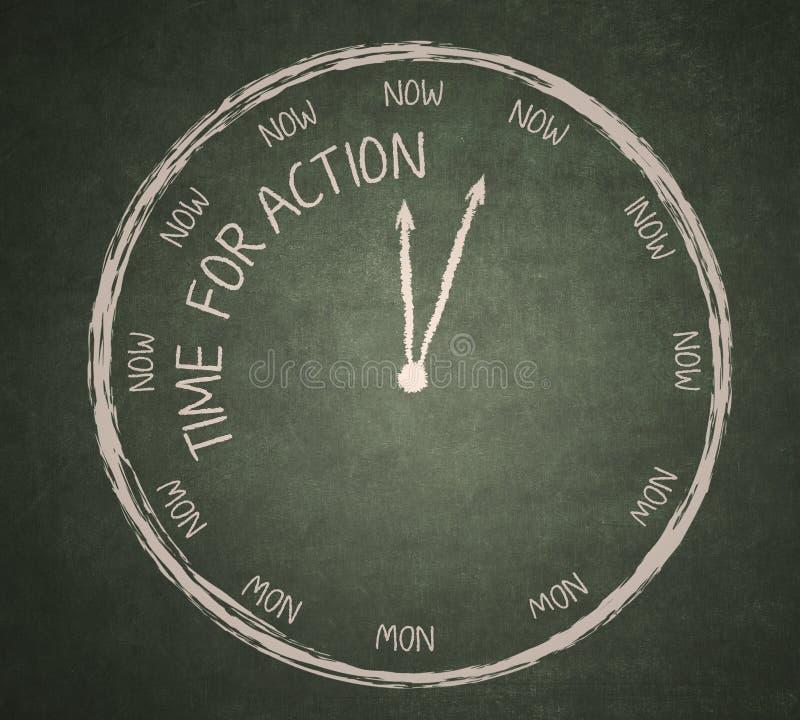 Tempo per azione sulla lavagna royalty illustrazione gratis