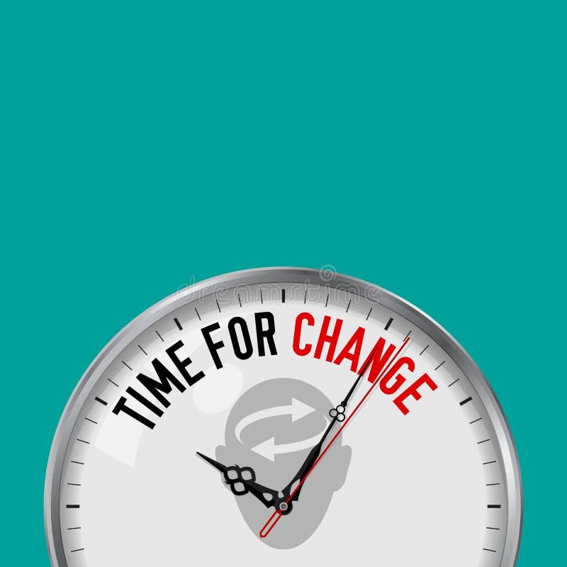 Tempo per cambiamento Orologio bianco di vettore con lo slogan motivazionale Orologio analogico del metallo con vetro Cambi la vo illustrazione di stock