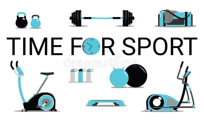 Tempo per il concetto di sport Le icone di forma fisica hanno messo l'illustrazione isolata piana di vettore e l'elemento di prog illustrazione vettoriale